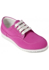 Hogan Women's fashion low top round toe lace-ups sneakers in pink canvas