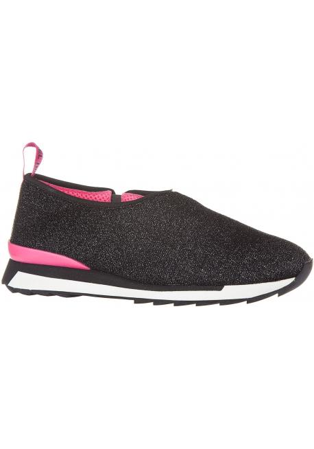 Hogan Women's slip-on laceless fashion sneakers shoes in black glitter fabric