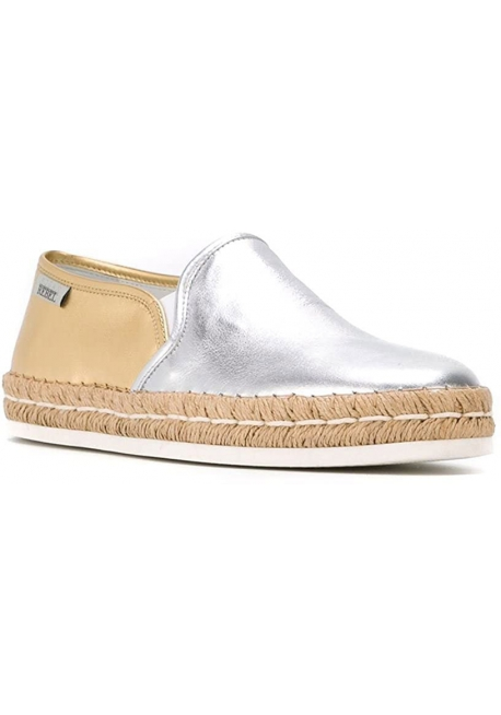 Hogan Women's fashion bicolor slip on espadrilles shoes in silver gold leather