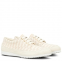 Hogan Women's fashion striped lace-ups low top sneakers shoes in beige canvas