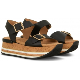 Hogan Women's fashion platform sandals with buckle closure in black leather