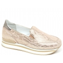 Hogan Women's slip on wedges shoes in light pink laminated calf leather
