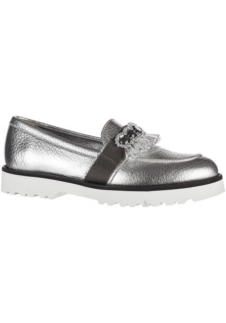 Hogan Women's slip on loafers shoes in silver laminated calf leather crystals