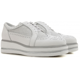 Hogan Women's fashion wedges lace-ups shoes in white leather and fabric