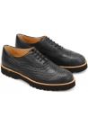 Hogan Women's brogues lace-ups oxford round toe shoes in black leather