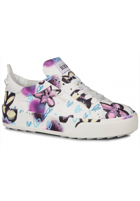 Hogan Women's sneakers shoes in multicolor leather flower pattern with beads