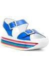 Hogan Women's rainbow wedges sandals with buckles blue laminated calf leather