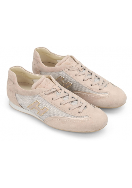 Hogan Women's fashion lace-ups sneaker shoes in light pink leather and fabric