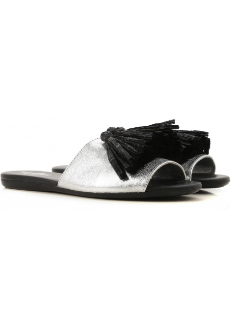 Hogan Women's fashion low sandals in silver laminated calf leather with tassels