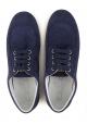 Hogan Women's fashion low top lace-ups sneakers shoes in blue suede leather