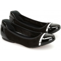 Hogan Women's fashion ballet flats shoes in black shiny leather silver band