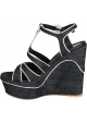 Gianvito Rossi wedges sandals in Denim Fabric