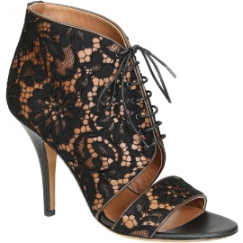 Givenchy high heel black lace fabric sandals shoes
