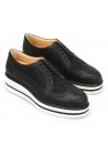 Hogan Women's brogues derby lace-ups wedges shoes in black leather and fabric