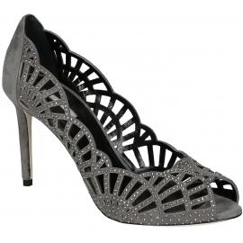 Giorgio Armani grey suede leather heels pumps open