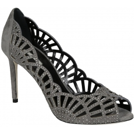 Giorgio Armani grey suede leather heels pumps open