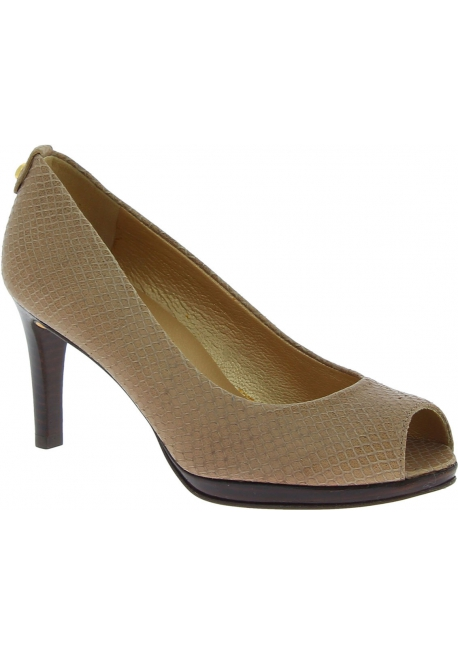 Stuart Weitzman Women's peep toe high heeled pumps in beige python leather