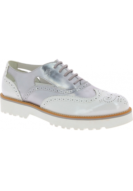Hogan Women's fashion brogues lace-ups shoes in silver white patent leather