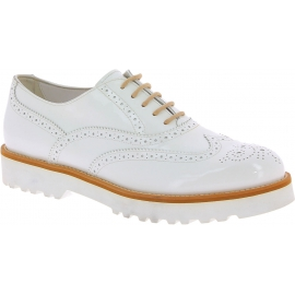Hogan Women's brogues fashion round toe lace-ups shoes in white patent leather