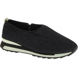 Hogan Women's fashion slip-on low top sneakers shoes in black glitter fabric