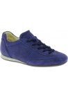 Hogan Women's low top fashion round toe sneakers shoes in blue suede leather