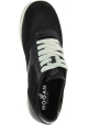 Hogan Women's fashion low top sneakers shoes in black leather and fabric
