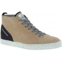 Hogan Women's fashion high top lace-up sneakers shoes in beige suede leather