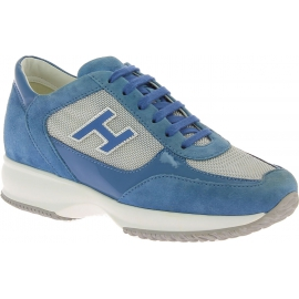 Hogan Women's fashion sneakers shoes in light blue gray leather and fabric