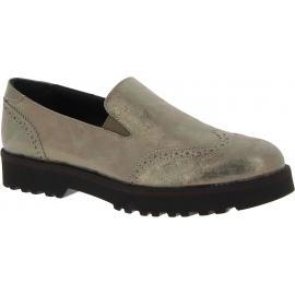 Hogan Women's fashion slip-on shoes in metallic gray laminated calf leather