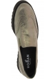 Hogan Women's fashion slip-on shoes in metallic gray laminated calf leather