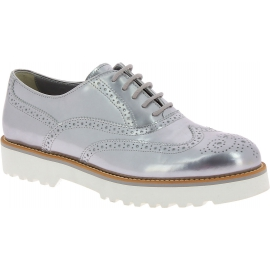 Hogan Women's fashion brogues lace-ups shoes in silver laminated calf leather