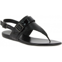 Hogan Women's fashion low thong sandals in black leather with buckle closure