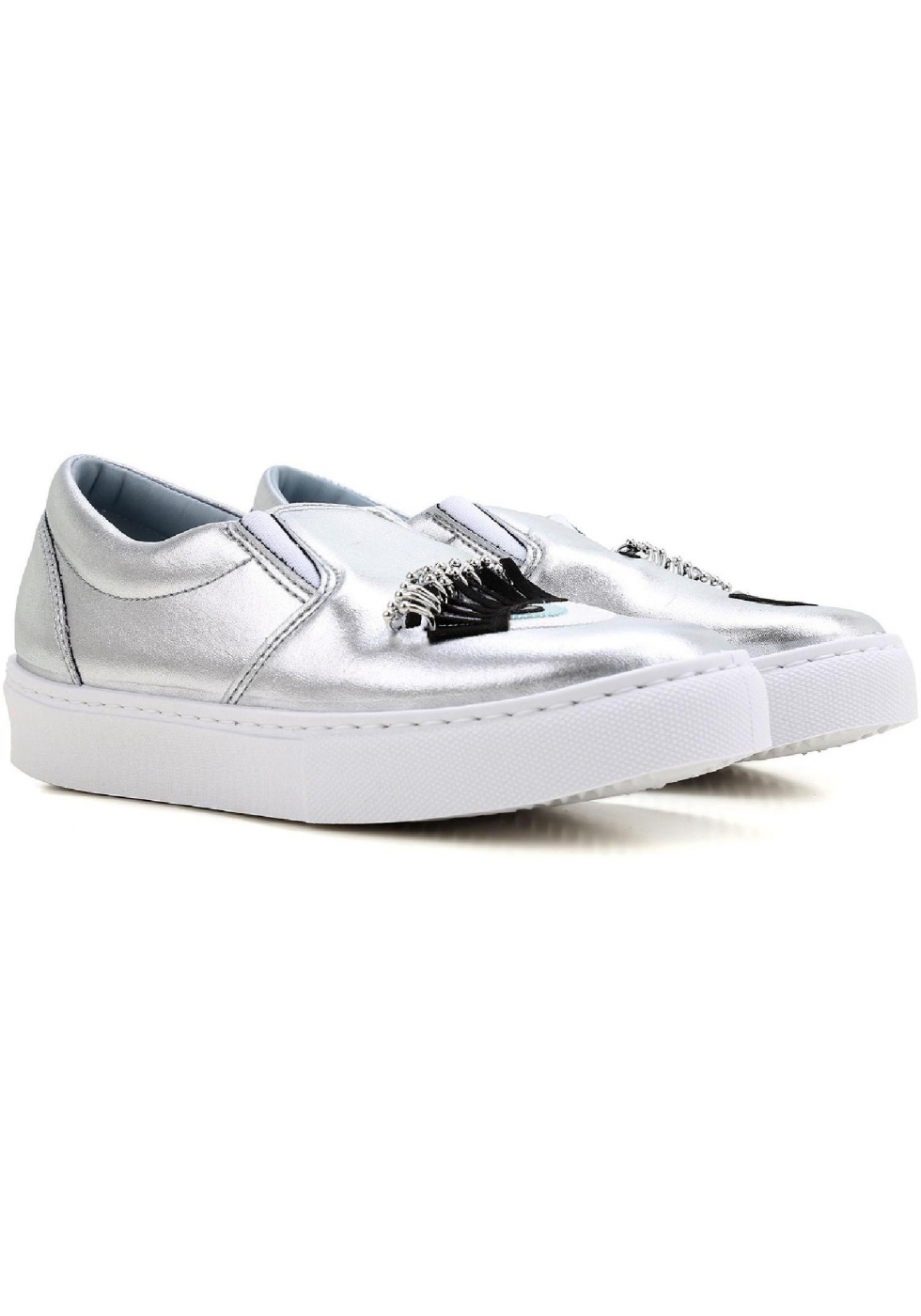 Slip on Sneakers for Women On Sale in Outlet, Silver, Leather, 2017, 4 Prada