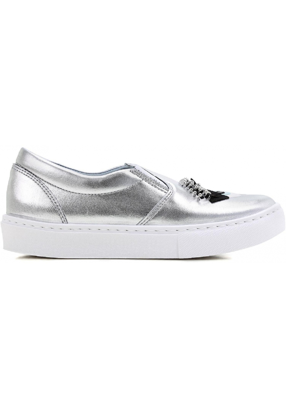 ... Chiara Ferragni silver metallic Leather slip-ons sneakers ...