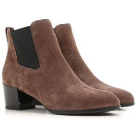 Hogan heeled chelsea boots in brown suede leather