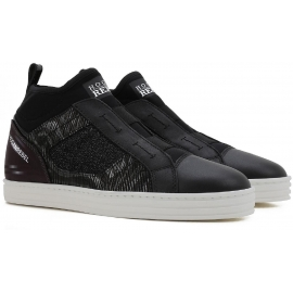 Hogan Rebel women's slip-ons sneakers black leather