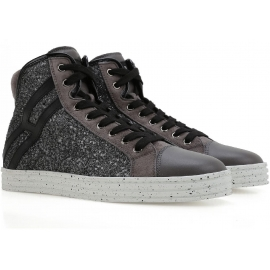 Hogan Rebel women's high top glitter leather sneakers
