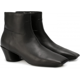 Balenciaga squared toe black leather ankle boots