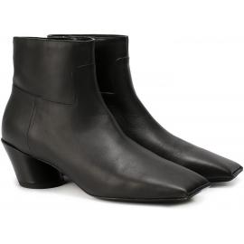 Balenciaga squared toe black leather ankle boots