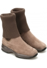 Hogan women's boots with interactive sole in taupe suede and wool