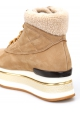 Hogan women's wedge ankle boots in beige nubuck and wool