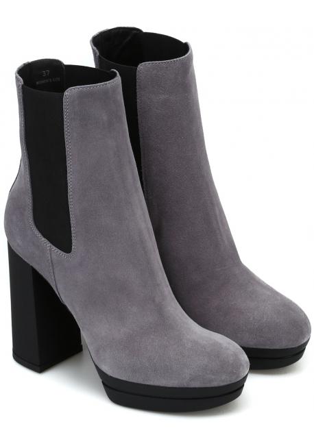 Hogan women's high heels chelsea boots in gray suede