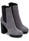 Hogan women's high heels chelsea boots in gray suede