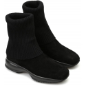 Hogan women's boots with interactive sole in black suede and wool