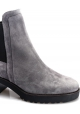 Hogan women's heeled ankle boots in gray suede