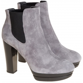 Hogan women's high heels and platform ankle boots in gray suede