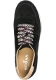Hogan women's wedge sneakers in black leather with glitter