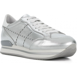 Hogan women's wedge sneakers in silver leather