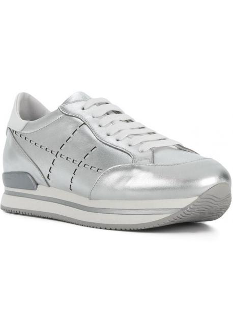 Hogan women's wedge sneakers in silver leather
