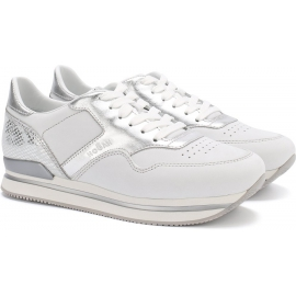 Hogan women's wedge sneakers in white and silver leather